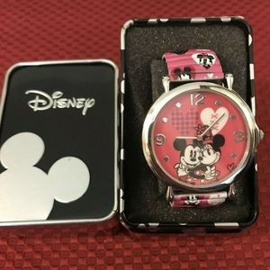 Disney Mickey and Minnie Mouse Watch with Tin